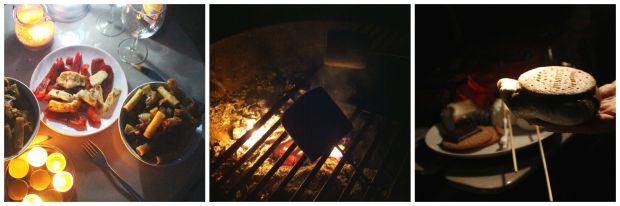 Glamping dinner and smores